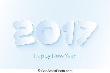 cuttings, papier, vector, achtergrond, jaar, nieuw, 2017, vrolijke