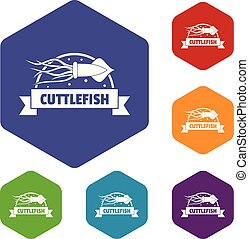 Cuttlefish shop icons vector hexahedron