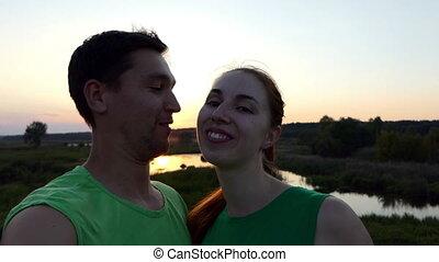 cuuple, selfie, powolny, zachód słońca, motion.