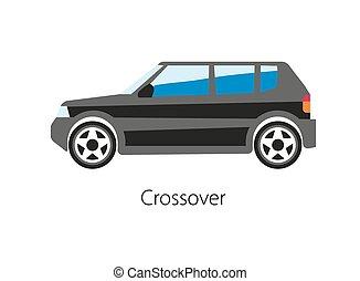 cuv, car, ilustração, crossover, vetorial, pretas, veículo, modelo, utilidade