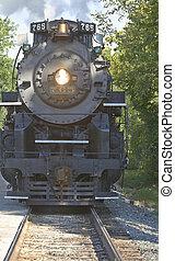 cuyahoga, vale, panorâmico, ferrovia, motor vapor