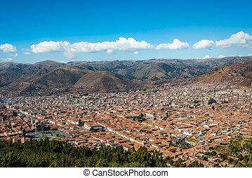 Cuzco cityscape  peruvian Andes
