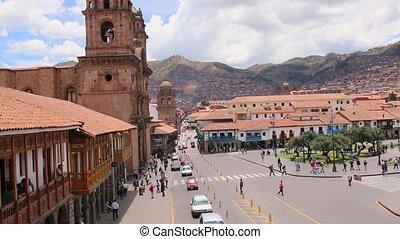 Cuzco, Peru Plaza de Armas. Church and Cathedral. On a sunny...