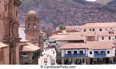 Cuzco, Peru Plaza de Armas. Church and Cathedral. On a sunny...