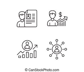 CV, Business Networking and Get a Job icons. - CV, Business...