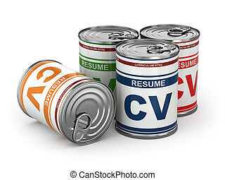 Cv can, Conceptual image of resume. 3d