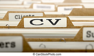 CV Concept with Word on Folder.