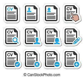 CV - Curriculum vitae, resume icons - Employment, hr - human...