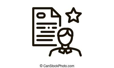 cv, employé, animation, icône