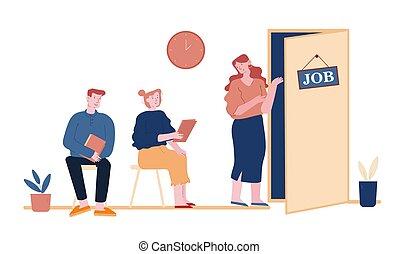 cv, entrevista trabalho, corredor, ilustração, documentos, candidatos, vetorial, arte, procurar, recrutamento, escritório, sentando, pessoas, esperando, caricatura, linha, job., apartamento, mulher homem, concept., desempregado, nomeação