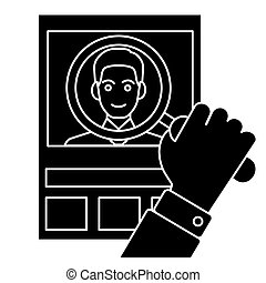 cv - human resources - personal icon, vector illustration, black sign on isolated background