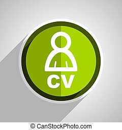 cv icon, green circle flat design internet button, web and mobile app illustration