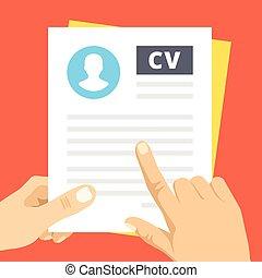 CV inspection. Flat illustration