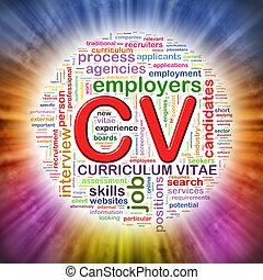 cv, kreisförmig, etikette, wordcloud, wort