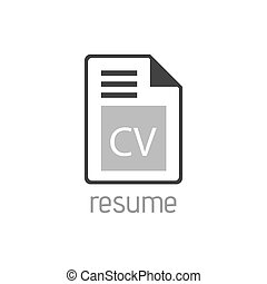 CV line flat vector icon for mobile application, button and website design. Illustration isolated on white background.