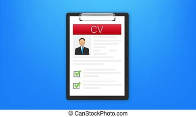 CV resume. Job interview concept. Writing a resume. Laptop with personal resume. illustration