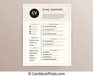CV / resume template - elegant stylish vector design