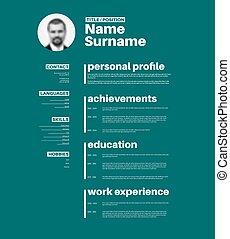 Vector minimalist cv / resume template with nice typogrgaphy design - teal version