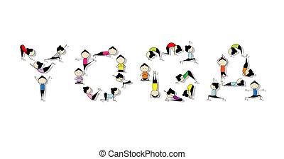 cvičit, design, pojem, jóga, tvůj