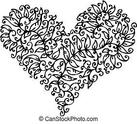 cxxxv, hjärta, romantisk, vinjett