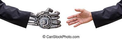 cy-ber, 手, ロボット, 隔離された, 人, 握手, スーツ