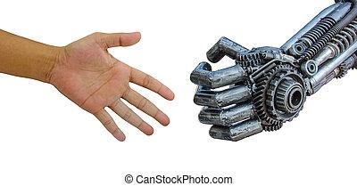 cy-ber, 手, ロボット, 隔離された, 人, 白, 握手, バックグラウンド。