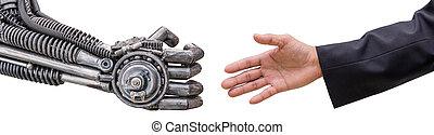 cy-ber, 手, 背景, ロボット, 隔離された, 人, 白, 握手