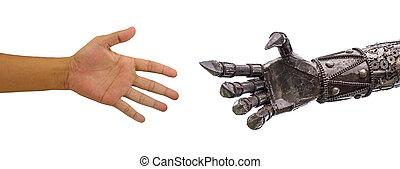 cy-ber, 手, backgrou, ロボット, 隔離された, 人, 白, 握手