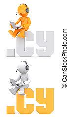 .cy, domínio, sentando, sinal., personagem, 3d