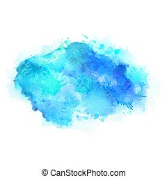 Cyan and blue watercolor stains. Bright color element for abstract artistic background.