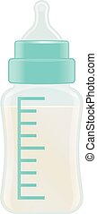 Cyan Baby Feeding Bottle Isolated On A White Background. Vector Illustration.