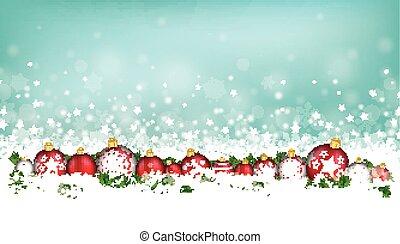 Cyan Christmas Card Header Snowflakes Baubles - Cyan...