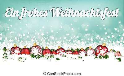 Cyan Christmas Card Header Snowflakes Baubles Frohes...