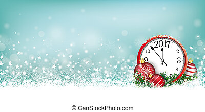 Cyan Christmas Card Header Snowflakes Clock 2017 - Cyan...