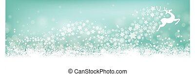 Cyan Christmas Card Header Snowflakes Reindeer Stardust -...