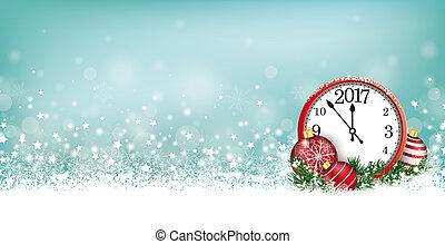 Cyan Christmas Card Header Snowflakes Clock 2017 - Cyan...