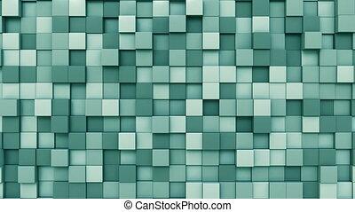 cyan, cubes, en mouvement