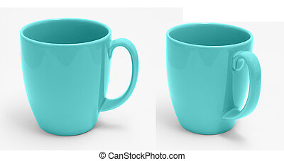Cyan Cup isolate on White With Clipping Path