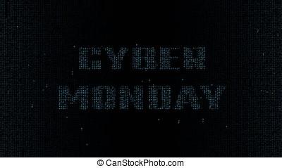 Cyan Cyber Monday on matrix font background 4K - Glowing...