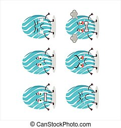 Cyan easter egg cartoon character with various angry expressions