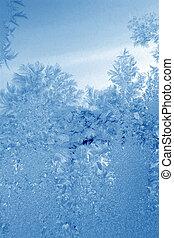 Frozen ice pattern on glass.