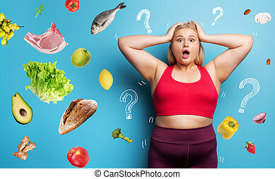cyan, graisse, wants, début, mais, doutes, fitness, a, fond, suite, girl, buy., nourriture régime, sur