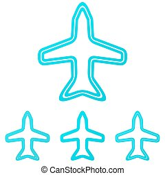 Cyan line aircraft logo design set