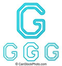 Cyan line g logo design set