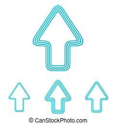 Cyan line up arrow logo design set