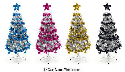 cyan, magenta, gula och svarta, julgranar