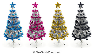 Cyan, magenta, yellow and black christmas trees - Decorated...