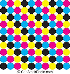 Cyan, Magenta Yellow Black CMYK dot colors background