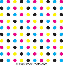 Cyan, Magenta Yellow Black CMYK dot colors on transparent background