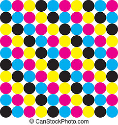 Cyan, Magenta Yellow Black CMYK dot colors background